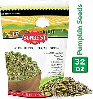 SUNBEST NATURAL Pumpkin Seeds/ Pepitas- Raw, Unsalted, Shelled, 2 lb Resealable Bag