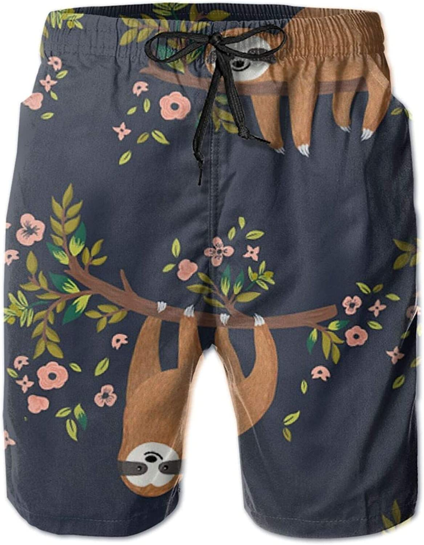 Yt92Pl@00 Men's 100% Polyester Funny Sloth Trunks Flowers 1 year warranty Under blast sales Swim