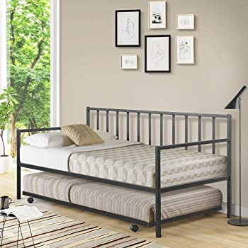 Giantex Twin Size Daybed and Trundle Frame Set, Trundle Bed with 4 Casters, Premium Metal Slat Support, Easy Assembly, Mattress Platform Bed Sofa for Living Room, Guest Room, Children Room