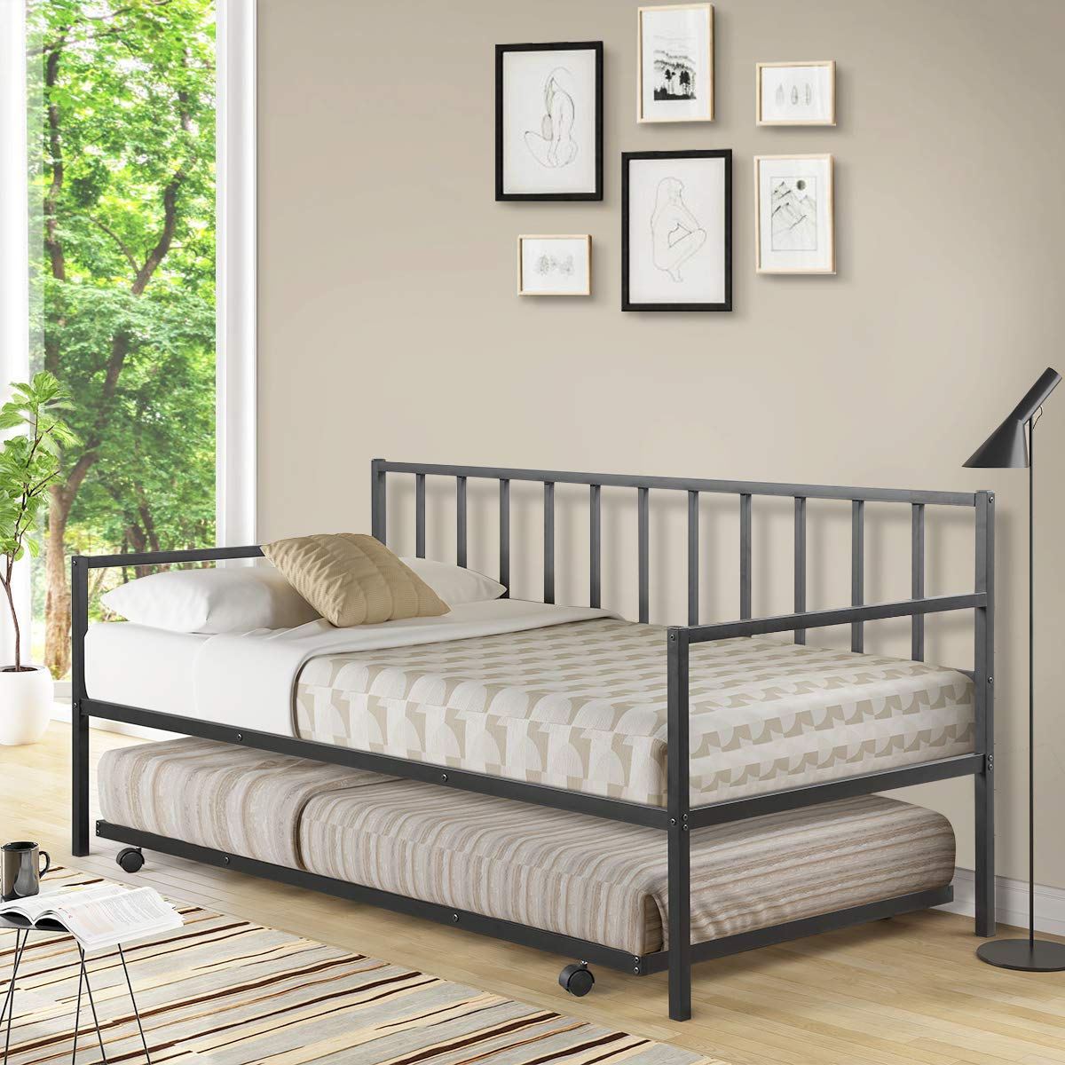 Giantex Twin Size Daybed and Trundle Frame Set, Trundle Bed with 4 Casters, Premium Metal Slat Support, Easy Assembly, Mat...