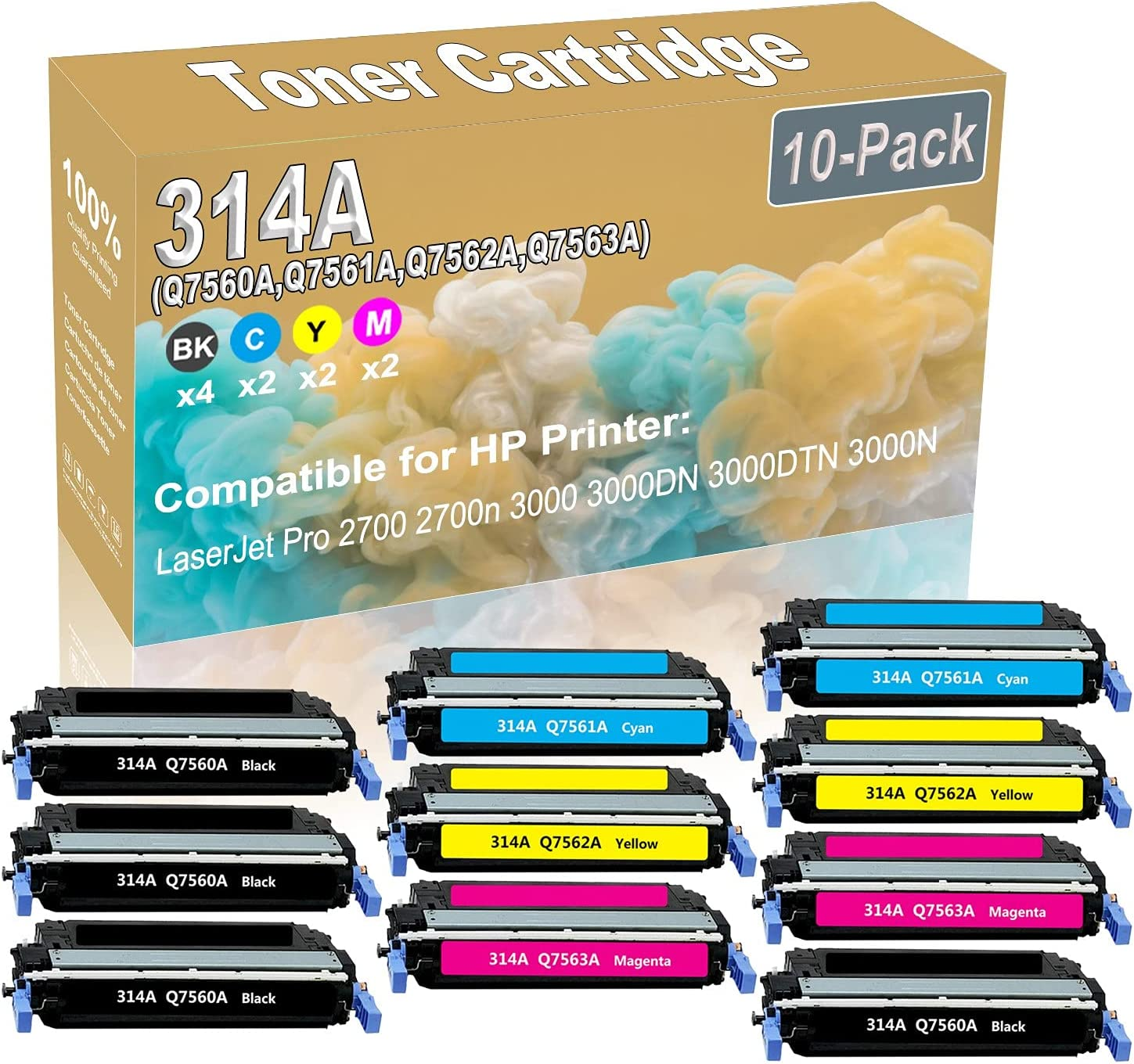 10-Pack (4BK+2C+2Y+2M) Compatible 2700 2700n 3000 Laser Printer Toner Cartridge (High Capacity) Replacement for HP 314A (Q7560A Q7561A Q7562A Q7563A) Printer Toner Cartridge