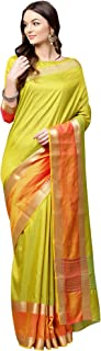 AKHILAM Women's Silk Blend Saree with Unstitched Blouse Piece (Green_Free Size)