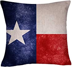 DECOPOW Retro Style US State Flag Pillow Cover, State Flag Throw Pillow Covers (Texas)