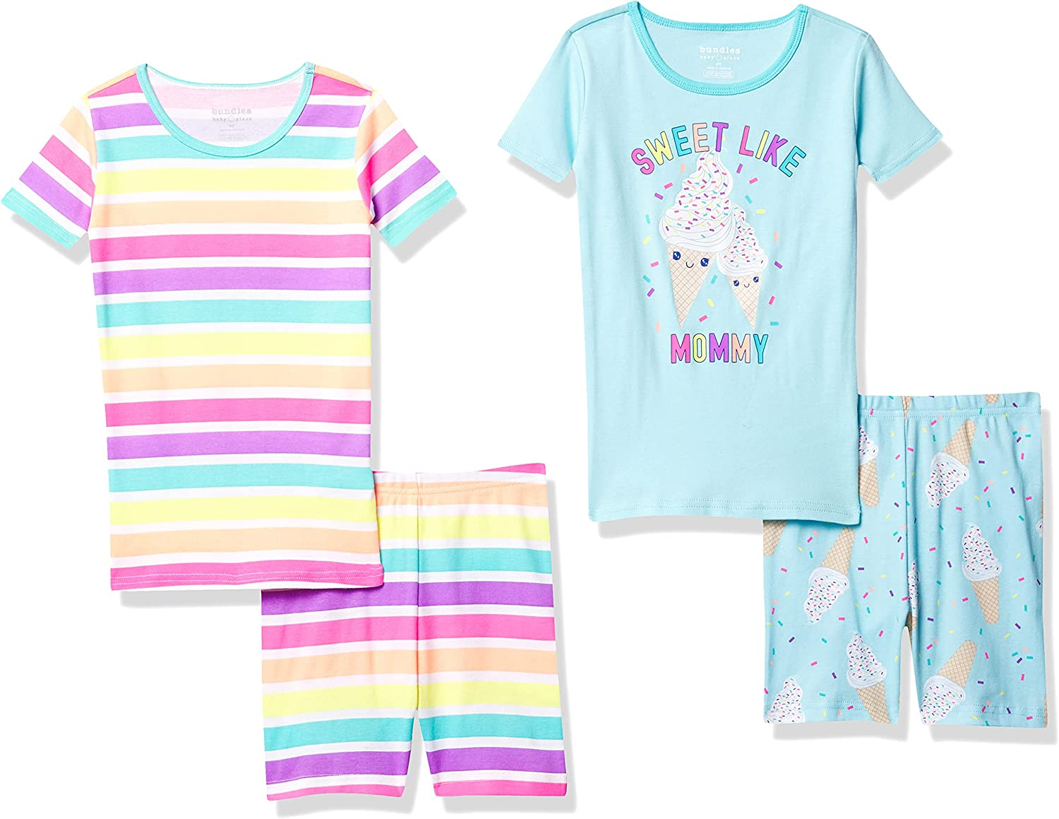 The Children's Place Baby And Toddler Girls Ice Cream Striped Snug Fit Cotton 4-Piece Pajamas