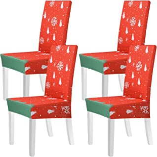 Beeager Christmas Chair Covers Decoration - 4 Pack Classic Stretch Removable Washable Christmas Chair Protector Slipcovers...