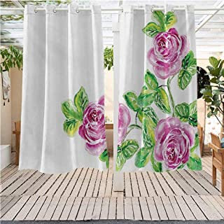 DONEECKL Watercolor Flower Sun Umbrella Outdoor Curtain Picturesque Glamour Dramatic Rose Figures with Cracked Effect Natural Art Gazebo W63 x L72 inch Pink Green