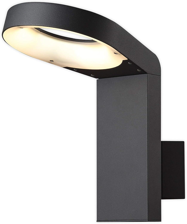 Lampenwelt LED Wandleuchte auen 'Jarka' (spritzwassergeschützt) (Modern) in Schwarz aus Aluminium (90 flammig, A+, inkl. Leuchtmittel) - LED-Auenwandleuchten Wandlampe, Led Auenlampe, Outdoor