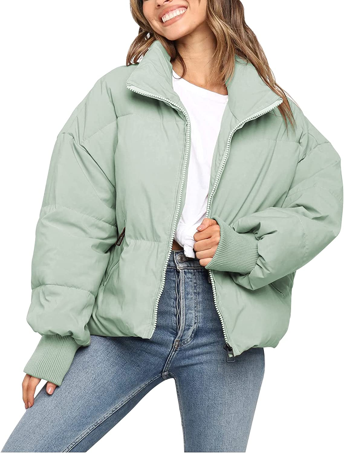 KYL Women's Winter Puffer Jacket Cropped Full-Zip Pockets Quilted Padded Bubble Coat