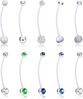 10Pcs 14G Pregnancy Belly Button Rings for Women Sport Maternity Flexible Bioplast Belly Navel Rings Retainer Body Piercing 1 1/2 Inch