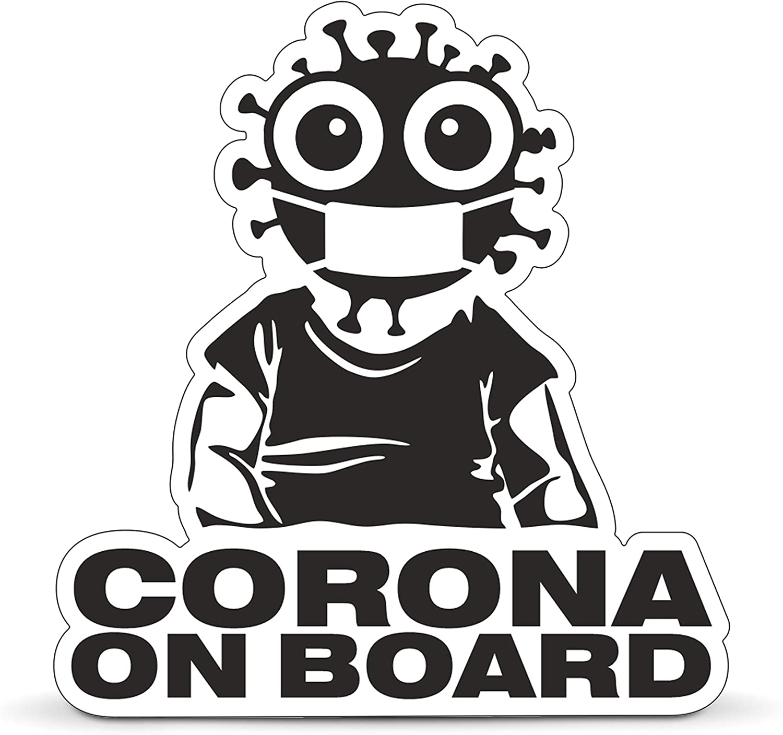 Betriebsausstattung24 Corona On Board Auto Aufkleber Baby An Bord Sticker Für Autos Notebooks Laptops U V M Folie 10 0 Cm Auto