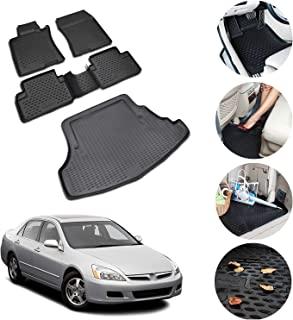Conjunto de tapetes e porta-malas 3D preto moldado para Honda Accord 2003-2007