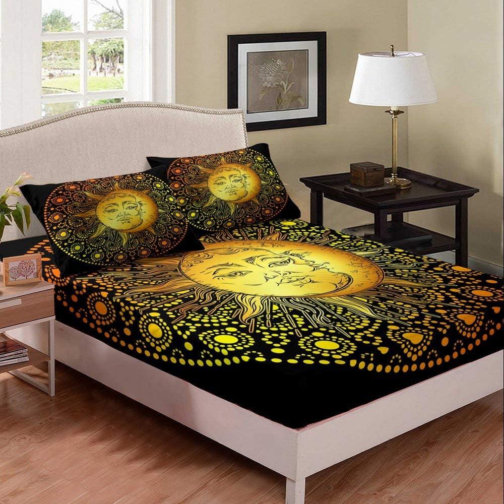 Erosebridal Albuquerque Mall Bohomian Sun Moon Fitted Cartoon Sheet Bedding Set famous T