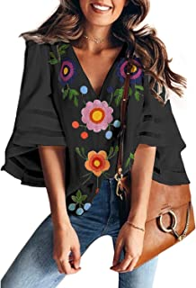 ae0bb1d420cab BLENCOT Womens 3 4 Bell Sleeve V Neck Lace Patchwork Blouse Casual Loose  Shirt Tops