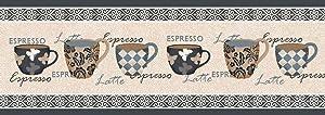 BuyElegant® - Alfombras Antideslizantes con diseño de Arte Moderno, Hechas con 100% poliéster y látex, ecológicas, Lavables, poliéster, Coffee Cups Print, 137 cms x 49 cms
