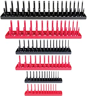 Socket Organizer Trays - 6 Piece SAE & Metric Socket Holder - Socket Tool Set Storage for ¼ inch, ⅜ inch and ½ inch Drive ...