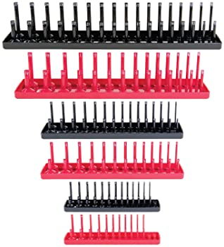 Socket Organizer Trays - 6 Piece SAE & Metric Socket Holder - Socket Tool Set Storage for ¼ inch, ⅜ inch and ½ inch D...
