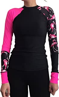 Womens Long Sleeve UV Protection Rash Guard Top Shirt Flamingo Print