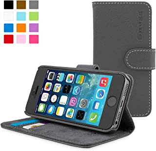 Snugg Leather Wallet Case for Apple iPhone 5/5s, Grey