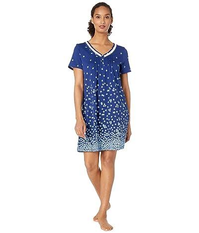 Carole Hochman Soft Jersey Short Sleeve Short Gown (Navy Floral Border) Women