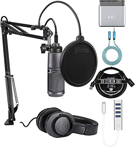 popular Audio Technica AT2020USB+PK Vocal Microphone Pack for Streaming Bundle with Blucoil USB-C Hub, lowest Pop Filter, 5X Cable Ties, 3' USB Extension Cable, 6' 3.5mm Extension Cable, popular and Fii O A1 Headphone Amp outlet sale