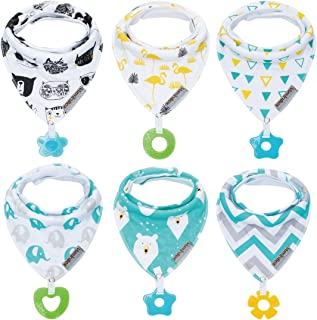 Baby Bandana Drool Bibs 6-Pack and Teething Toys 6-Pack Made with 100% Organic Cotton,..