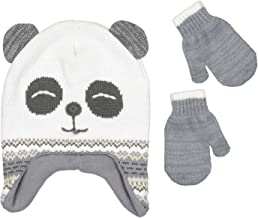 Girls Knitted Animal Beanie Winter Hat and Glove Set [4015]