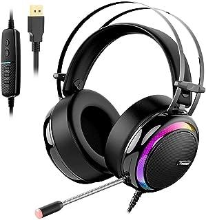 ゲーミングヘッドセット、Tronsmart ゲーミングヘッドホン 7.1chサラウンド / 50MMドライバー / 密閉型/ノイズキャンセルマイク付き/ヘッドフォン/ゲーム用/カラフルなLED/高音質 PC、PS4 Pro、Nintendo Switch等対応