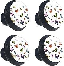 4 stks Kabinet Knoppen Lade Dressoir Handvatten Kleurrijke Vlinders Print voor Kamer, Keuken, Kantoor en Badkamer