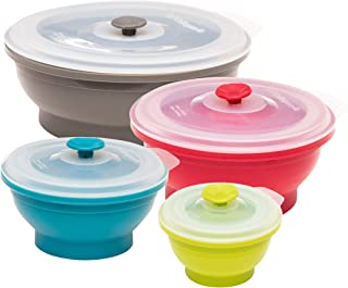 Collapse-it Silicone Food Storage Containers Sampler Pack - BPA Free Airtight Silicone Lids, 4 Piece Set of 6-Cup, 4-Cup, 2-Cup, & 1-Cup Collapsible Lunch Box - Oven, Microwave, & Freezer Safe + eBook