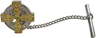 Kiola Designs Gold and Silver Toned Celtic Cross Tie Tack