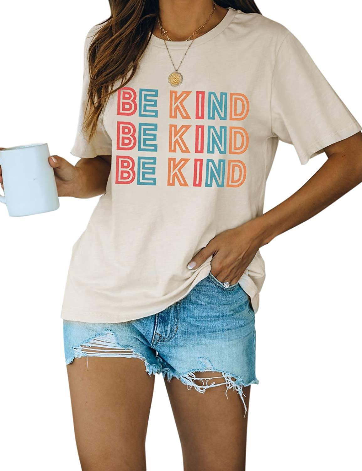 Blooming Jelly Women's Cute Short Sleeve Top Be Kind Letter Print Graphic Casual Basic T Shirts