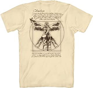 Star Wars Vitruvian Man Chewbacca Chewie Front & Back Leonardo da Vinci Funny Tee Adult Mens Graphic T-Shirt