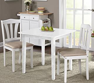 Harewood 3 Piece Dining Set, Constructed of Sturdy Rubber Wood with Microsuede Upholstered Seats (White)