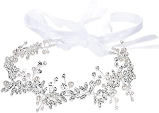 BriLove Women's Bohemian Boho Ivory Color Simulated Pearl Crystal Wedding Bridal Head Band Hairpieces