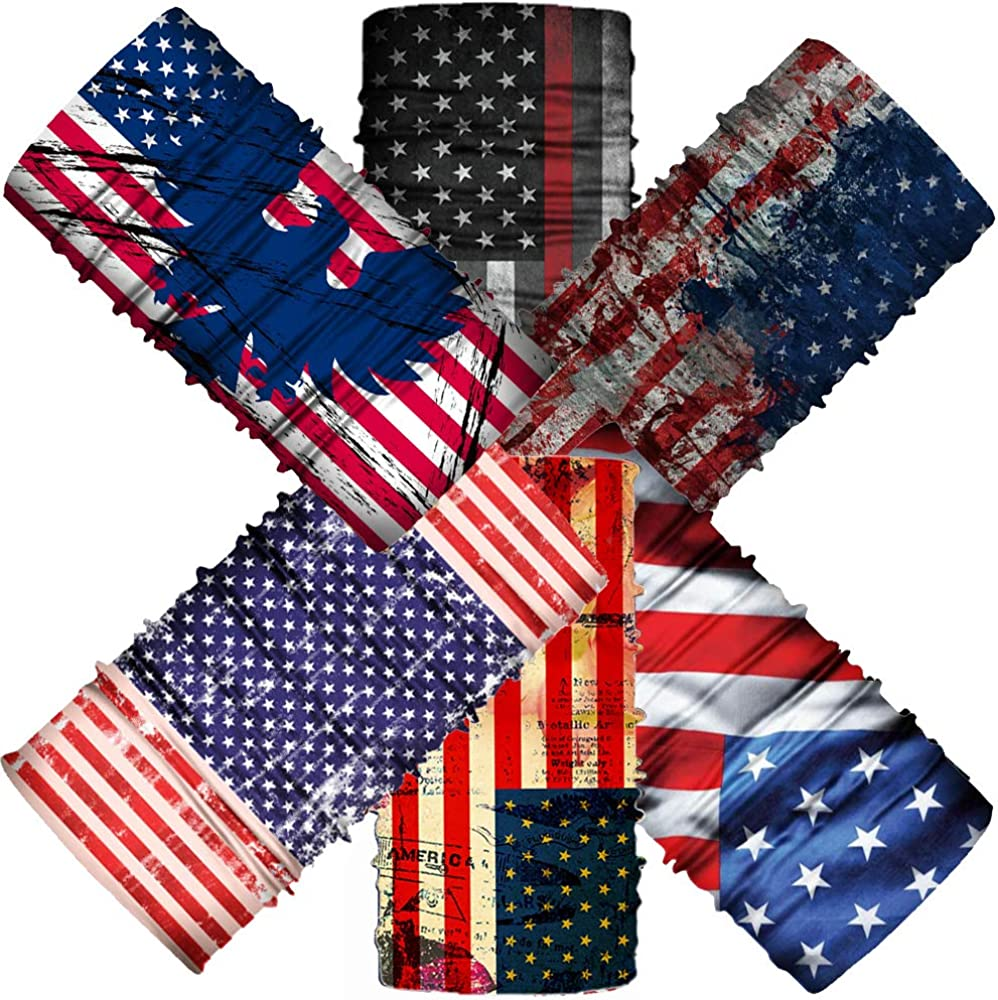 6 Pack 5 popular American Flag Bandanas Shield Ne All items in the store Face Balaclava for Cover