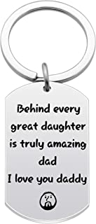 Keyrings Fathers Day Dad Papa Father Birthday Gifts Behind Every Great Daughter is Truly Amazing Dad,I Love You Daddy