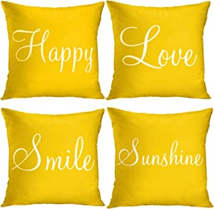 Britimes Throw Pillow Covers Yellow Home Decor Set of 4 Pillow Cases Decorative 20x20 Inches Outdoor Cushion Couch Sofa Pillowcases Sunshine Happy Love Smile