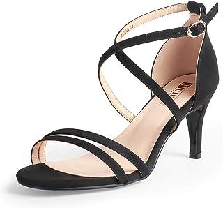 IDIFU Women's Alva Cross Strappy Sandals Heels 3 Inch Open Toe Ankle Strap Wedding Party Dress Heeled Shoes