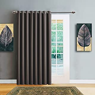 "Warm Home Designs 1 Panel of Charcoal Blackout Patio Door Curtains. Each Extra Wide Insulated Thermal Sliding Door or Room Divider Curtain is 102"" X 84"" in Size - N Charcoal Patio 84"