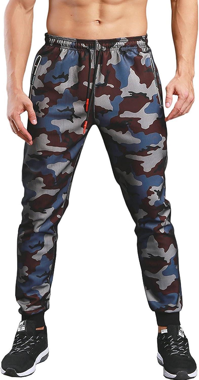 KaiDi Mens Drawstring Classic Camo Joggers Pants Zipper Pockets Sport Sweat Pants