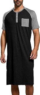 Mens Nightshirt Cotton Nightgown Nightwear Pajama Tops Short Sleeve Long T Shirt Bathrobe M-3XL Sleepwear