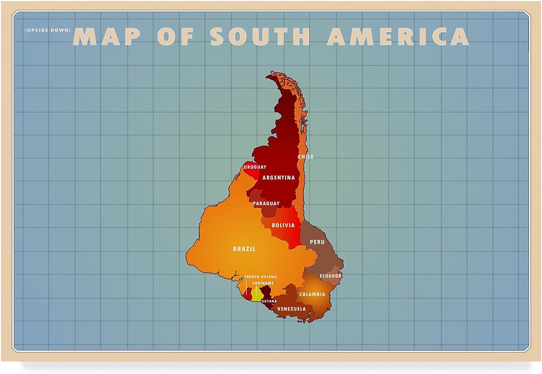 Upside Down South America by American Flat, 12x19Inch