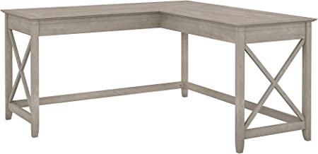 Bush Furniture Key West 60W L Shaped Desk in Washed Gray