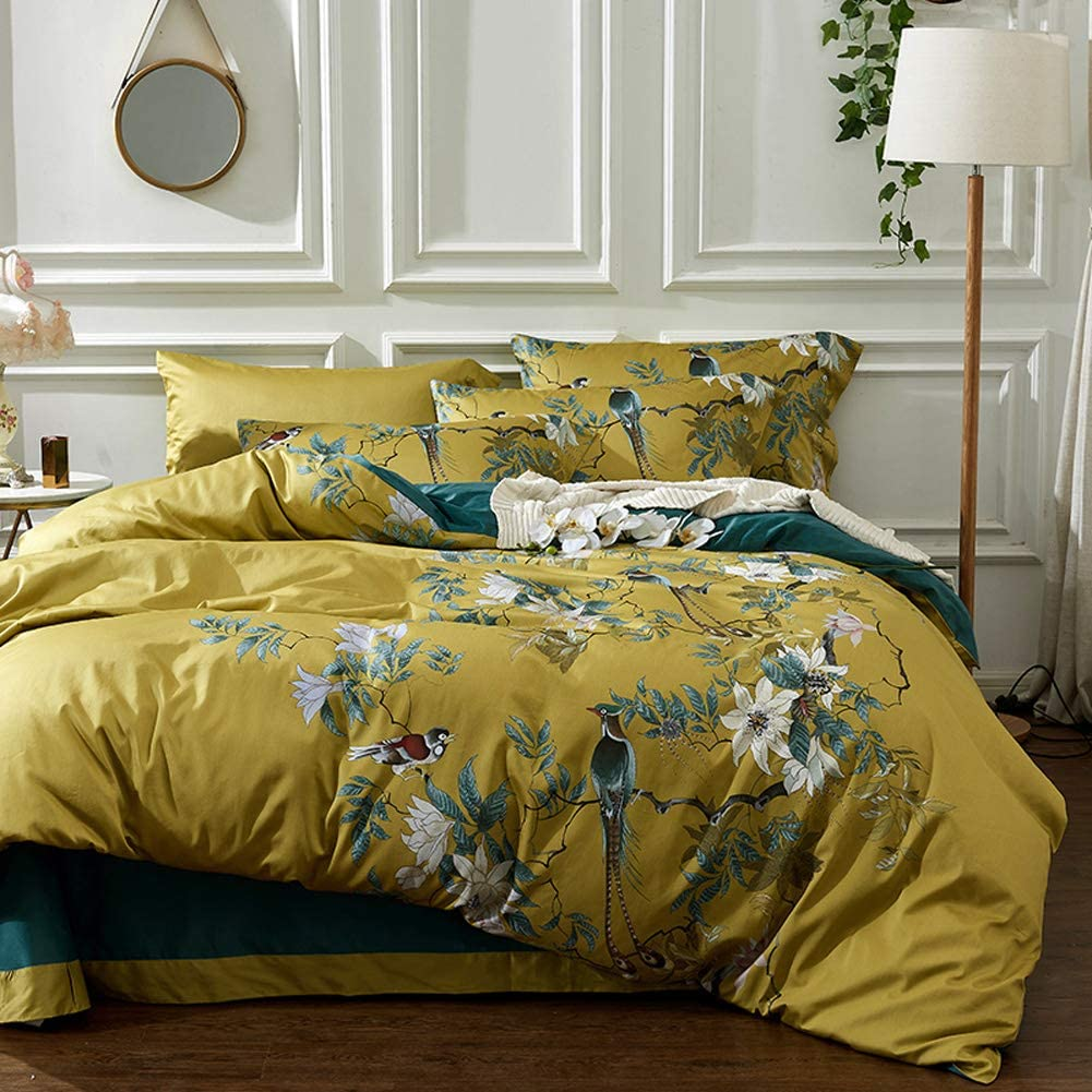 mixinni Floral Duvet Cover Set King Size Bird Flower Pattern Soft Cotton Bedding Comforter Cover with Buttons and Ties for Women and Men, Ultra Soft, Breathable, Easy Care-King Size