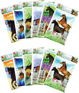 Horse and Pony Themed Coloring Books with Crayons Party Favors, Set of 12