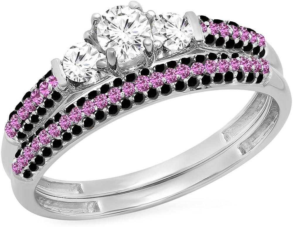 Dazzlingrock Collection 10K Gold Round White & Pink Sapphire, Black Diamond 3 Stone Bridal Engagement Ring Set