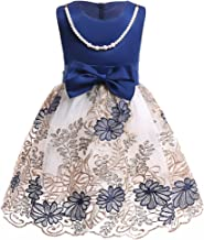 2-9Y Girls Christmas Dresses Toddler Formal Embroidery Tulle Dress with Necklace