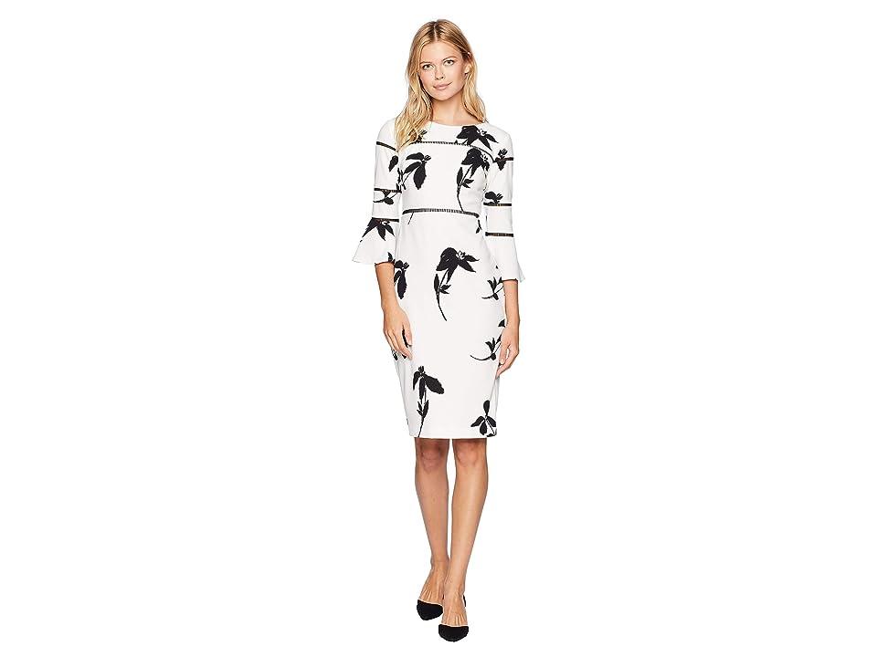 Taylor Floral Printed Bell Sleeve Sheath Dress (Ivory/Black) Women