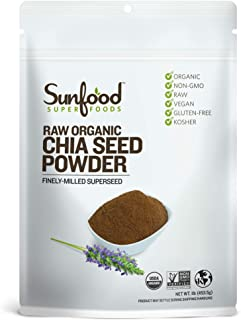 Sunfood Superfoods Chia Seed Powder - Raw Organic - Bulk Value - Ground Chia Seed Meal - Mild Nutty Flavor - Traditional G...