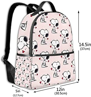 Classic School Backpack Many Snoopy Unisex College Schoolbag Travel Bookbag Black